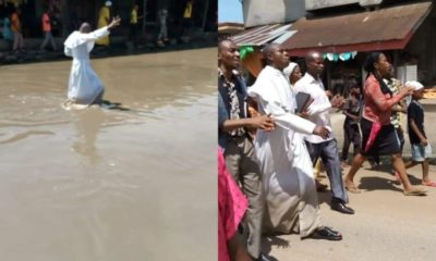 Reverend father leads church members to pray over poor state of road in Abia (photos)