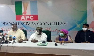 L-R: APC National Vice Chairman South South Hillard Eta; National Secretary Waziri Bulama; National Women leader Hajia Salamatu Baiwa Umar and National Organising Secretary, Emma Ibediroh during the National Working Committee(NWC) meeting affirming Senator Abiola Ajimobi as acting chairman in Abuja on Wednesday. Photo Credit: The Nation