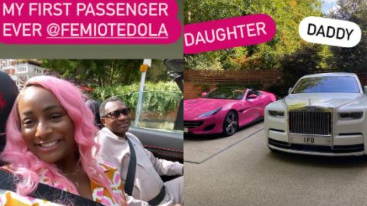 PHOTOS: DJ Cuppy shows off billionaire father's Rolls Royce