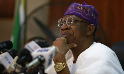 Lai Mohammed at a press briefing in Abuja