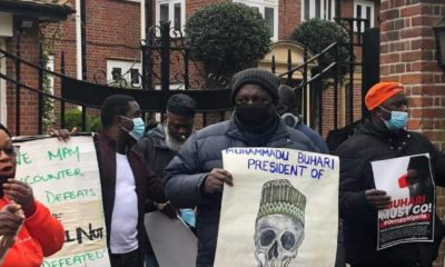 Nigerians in UK besiege Abuja House, Nigerians in UK protest against Buhari, #HarassBuhariOutOfLondon rally, Reno Omokri