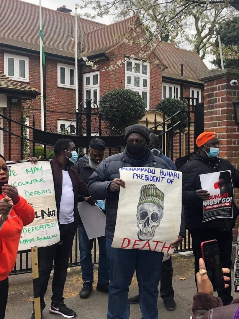 Nigerians in UK besiege Abuja House, Nigerians in UK protest against Buhari, #HarassBuhariOutOfLondon rally, Reno Omokri