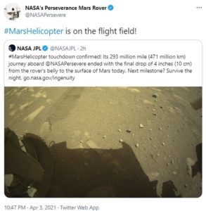 First NASA helicopter lands on Planet MARS