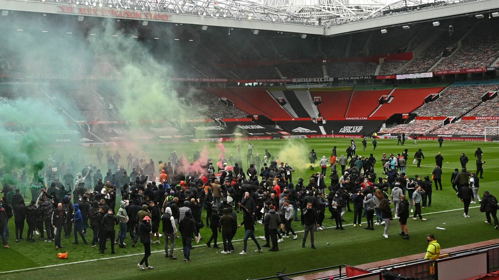 Man Utd Old Trafford invasion Liverpool Premier League fans police