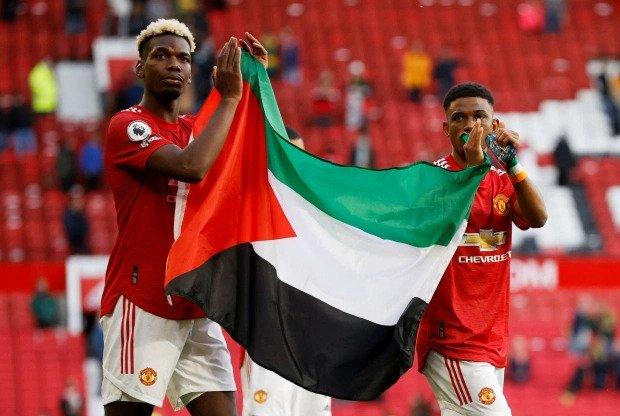 Pogba Diallo Palestine Israel Man Utd Old Trafford Fulham