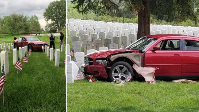 Memorial Day veterans' cemetary crash drunk woman Denver