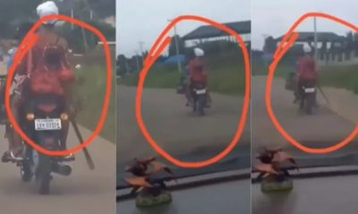 VIDEO: Mixed reactions as woman attends Church service with cutlass