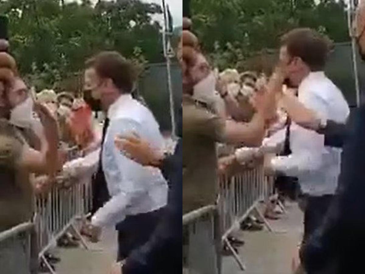 Macron slapped