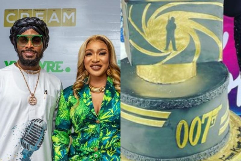 Tonto Dikeh surprises D'Banj with 007-inspired cake for 41st birthday