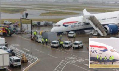 British Airways plane collapses on Heathrow tarmac
