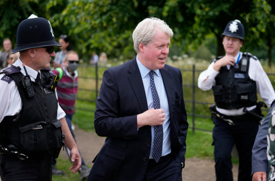 Diana's brother Earl Spencer arrives at Kensington Palace for the unveiling of the statue (Picture AP)