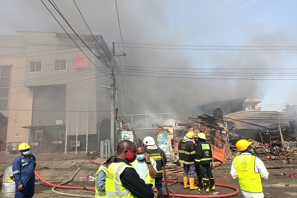 PHOTOS: Again, fire guts building at Ladipo Market