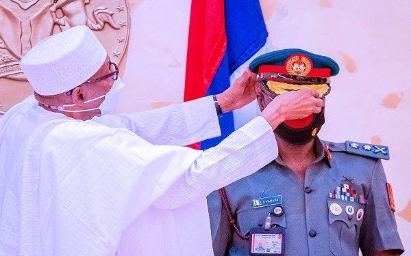JUST IN: Buhari decorates new COAS with Lt. Gen