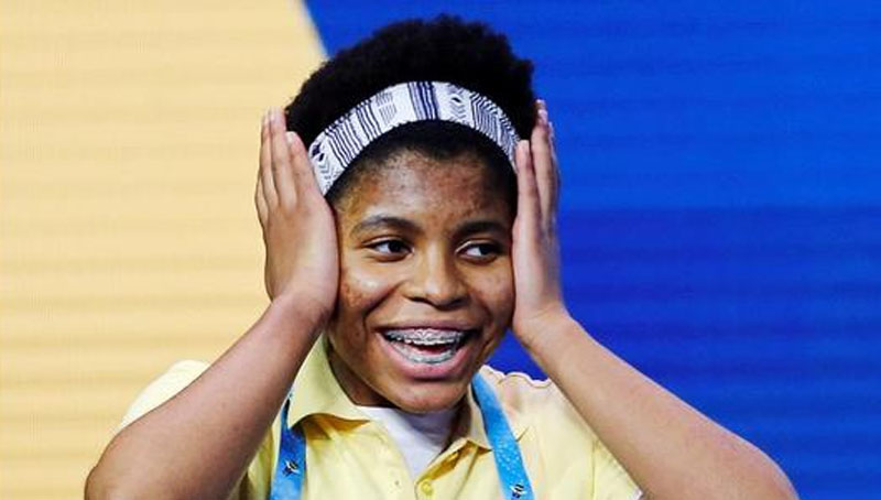 Zaila Avant-garde, 14, from New Orleans, Louisiana, reacts after winning the 2021 Scripps National Spelling Bee finals at the ESPN Wide World of Sports Complex at Walt Disney World Resort in Lake Buena Vista, Florida, US. (REUTERS)