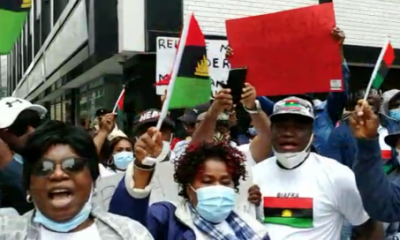 Release Nnamdi Kanu now, Biafra supporters storm British Embassy in Germany