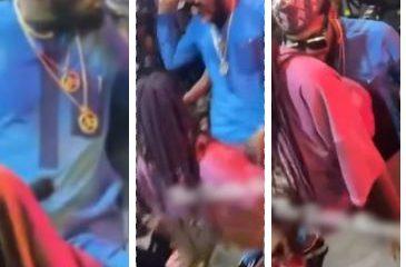 Hilarious reactions as 'Born again' D'banj rocks lady at Obi Cubana's mum burial