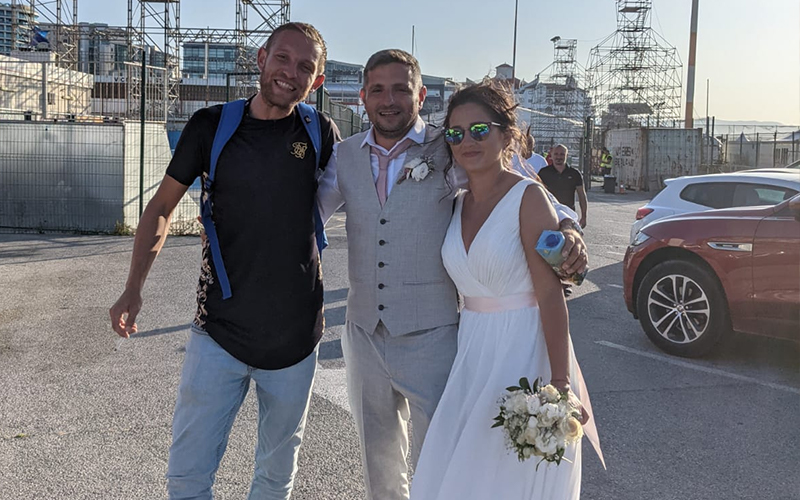 Just-married couple at Champions League qua;ifier