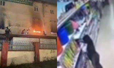 VIDEO: CCTV footage captures moment lady intentionally set ablaze Abuja supermarket