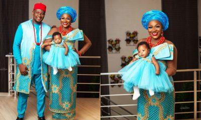 PHOTOS/VIDEOS: Actress Chacha Eke and husband, Austin dedicate their baby in church
