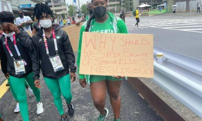 Nigerian athletes protest in Tokyo Olympics