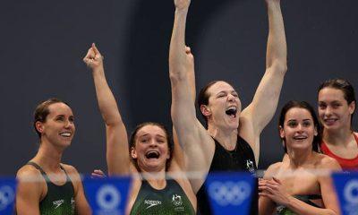 Australia womne win swimming relay at Tokyo 2020