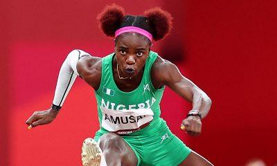 Tobi Amsan finished fouth in women's hurdles