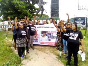 A Non-Governmental Organisation, Badagry Women Development Forum, is leading a protest by Badagry women over the death of a housewife, Abosede Oke, in the hands of her husband